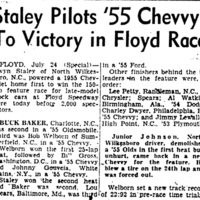 Staley Pilots '55 Chevvy To Victory in Floyd Race