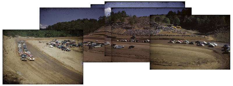 Panorama of a Race at Floyd Speedway c. 1955