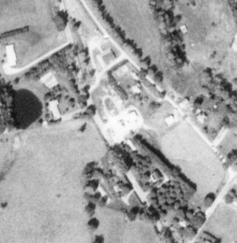 Aerial photograph of Floyd go kart track and surrounding area, 1974