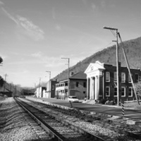 View of Railroad Avenue from the railroad crossing southeast of town (Eagle Rock, Botetourt County)