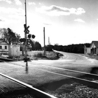 View south on Woodford Road at railroad crossing (Woodford, Caroline County)