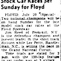 Stock Car Races Set Sunday for Floyd