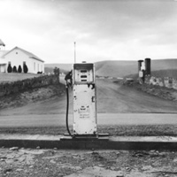View of St. Paul's Lutheran Church from old gas station on Jerome Road (Jerome, Shenandoah County)