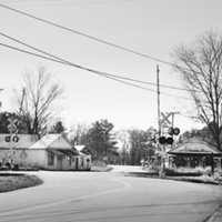 Main Street and Grizzard Street intersection at railroad crossing (Branchville, Southampton County)
