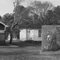 Pamunkey Indian Museum, former pottery school, Tribal Council building, and monument to Powhatan on Lay Landing Road (Pamunkey Indian Reservation, King William County)